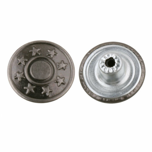 40 Sets Metal Jeans Tack Press Snap Buttons Replacement w//Cap Rivets+Box 17mm