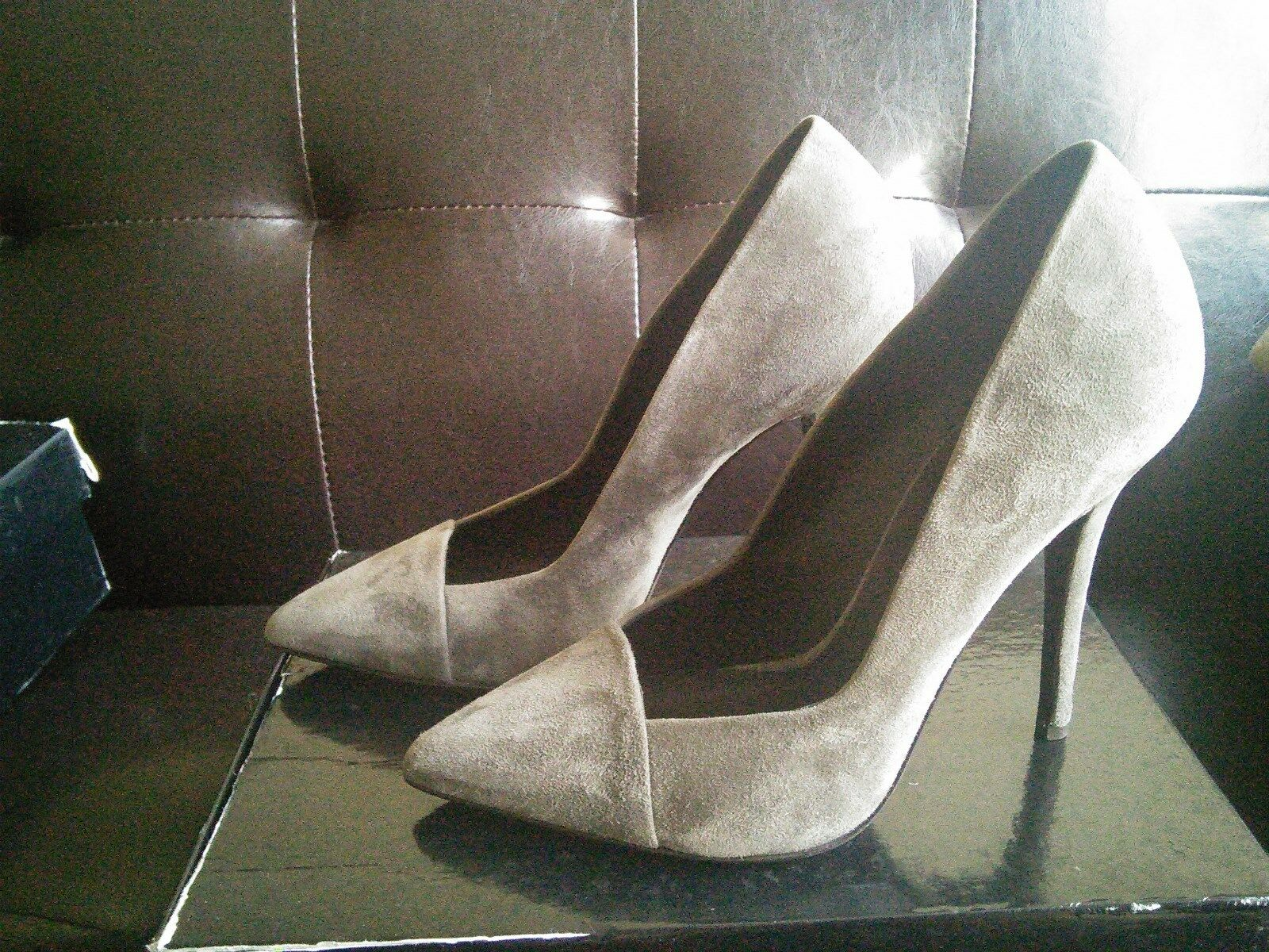 New GIUSEPPE ZANOTTI Design Women's Suede Pointy Toe Pump dress Heel in Grey 39