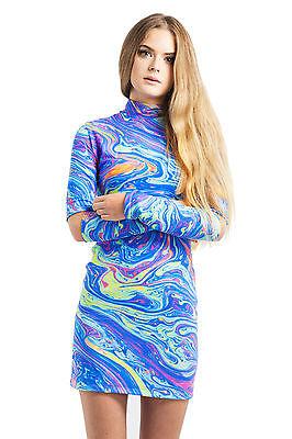 MELTED DRESS BODYCON TURTLE NECK WOMENS HIGH MINI TUMBLR PRINT FASHION RAINBOW