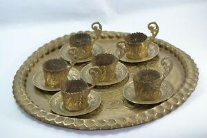 Antique-arabic-Vintage-collection-brass-copper-tray-six-cups-islamic-hand-made