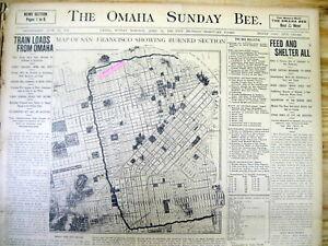 3 1906 newspapers SAN FRANCISCO EARTHQUAKE Display City Map ...  San Francisco Earthquake Map on