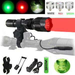 Hunting-Flashlight-Night-Light-Red-Green-White-LED-Light-Torch-USB-Rechargeable