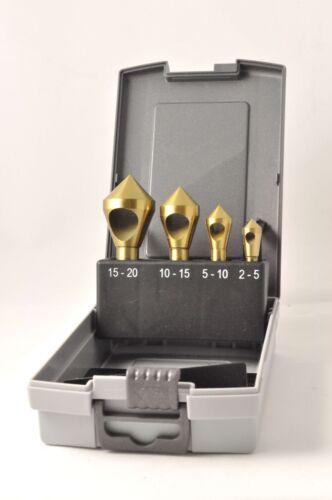 4-tlg 2-20 mm HSS Querlochsenker- Entgratungssenker- Satz 90° TIN