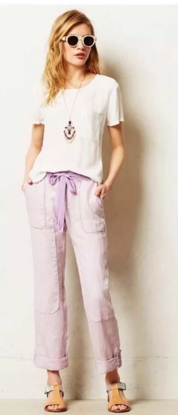 Anthropologie  Laced Linen Cargos Pants Various colors and Sizes by Hei Hei