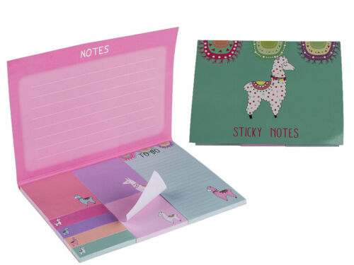 NEW LLAMA STICKY NOTES BOOK MEMO CARD DATE DIARY PAD PLANNER SKETCH SCHOOL KIDS