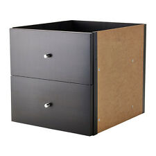 Ikea Kallax Insert with 2 drawers - Brown/Black - Fit Expedit Models