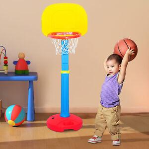 HOMCOM-Canasta-de-baloncesto-con-soporte-Ninos-3-Ano-Altura-Regulable-120-155cm