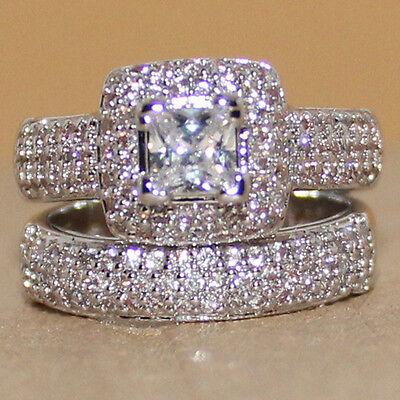 Lovers Pave Set 134Pc Topaz Womens 925 Silver Handmade 2 Wedding Band Ring Set
