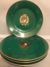 2006 Ralph Lauren Kelly Green Estate Crest Luncheon or Dinner Plates Set of 4