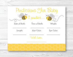 Bumble Bee Baby Shower Baby Predictions Game Cards Printable Ebay