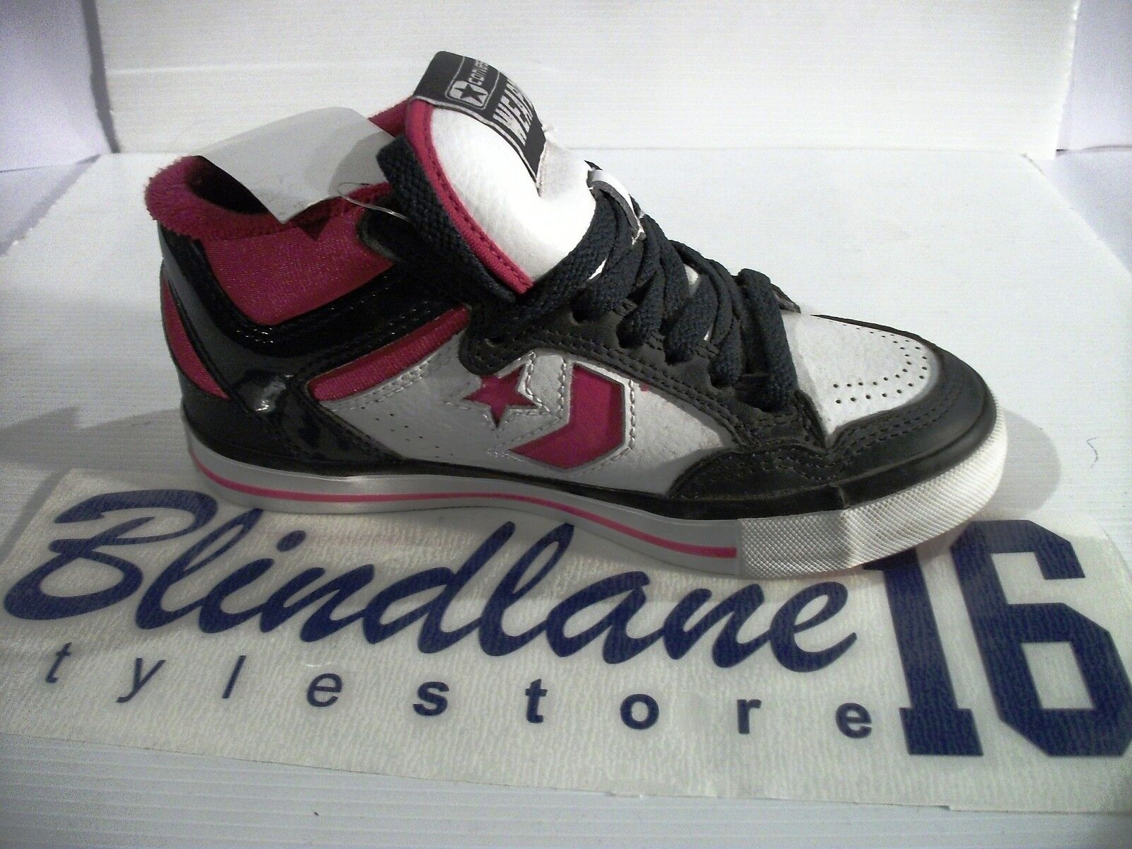 SCARPE CONVERSE PELLE LADY WEAPONS MID LEATHER PELLE CONVERSE NERE BIANCHE 518797 EUR N 36 a7541a