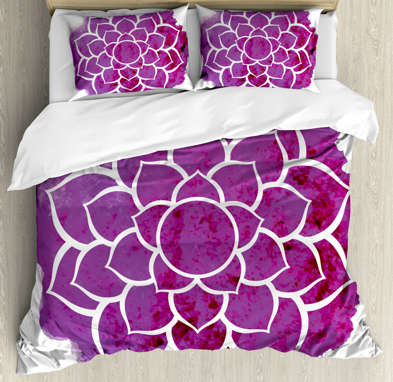 Purple Mandala Duvet Cover Set with Pillow Shams Meditation Boho Print