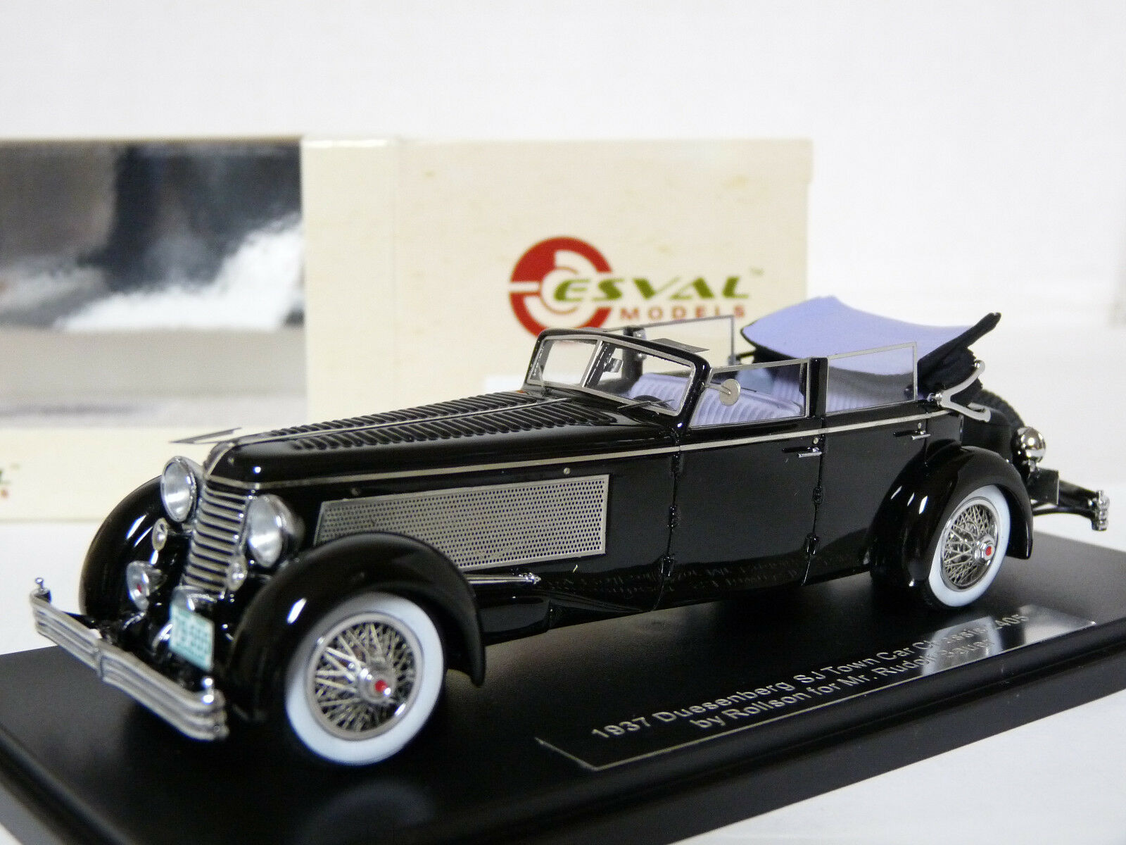 Esval EMU 43004D 1 43 1937 Duesenberg SJ Town Car Coche Modelo de Resina rollson
