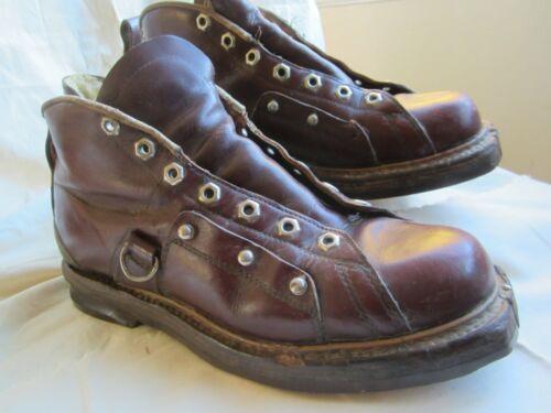Vintage MACY'S WERON Leather SKI BOOTS Sz 8 1920s