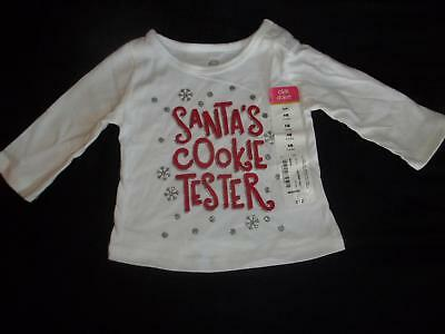Tops & T-shirts Nwt Okie Dokie Girls Newborn Santa's Cookie Tester Christmas T-shirt Top Reborn To Suit The PeopleS Convenience
