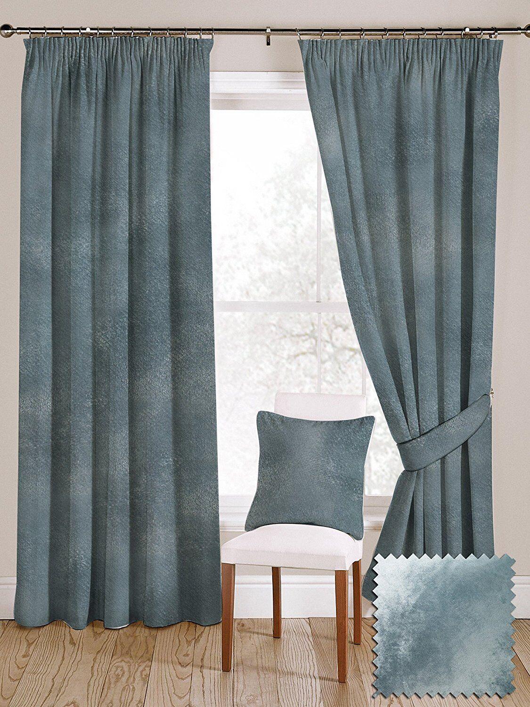 McAlister textiles de Lujo Suave Terciopelo machacado brillante Par De Cortinas azul huevo de pato