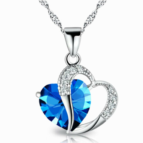 Charming Chrismas Gift Heart Shaped Necklace Cubic Rhinestone for Ladies /&Girl