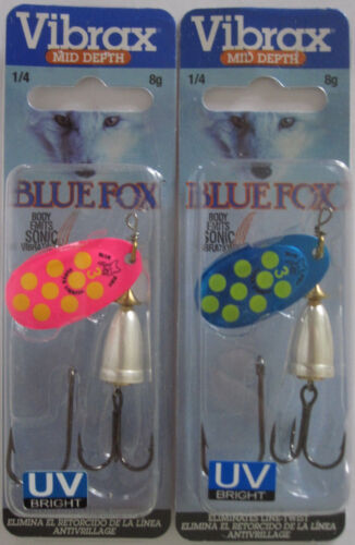 Classic Vibrax Spinners UV Size 3-1//4 oz BLUE FOX -  Two Great Colors!