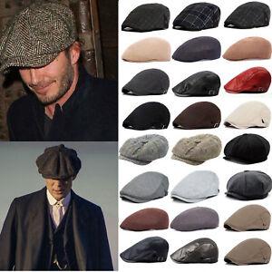 Men Newsboy Gatsby Blinders Herringbone Flat Cap Baker Beret Tweed Peaky Lvy Hat