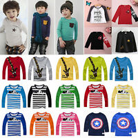Child Boys Girls Long Sleeve T-Shirt Tops Clothing Crewneck Shirts Tee Pullover
