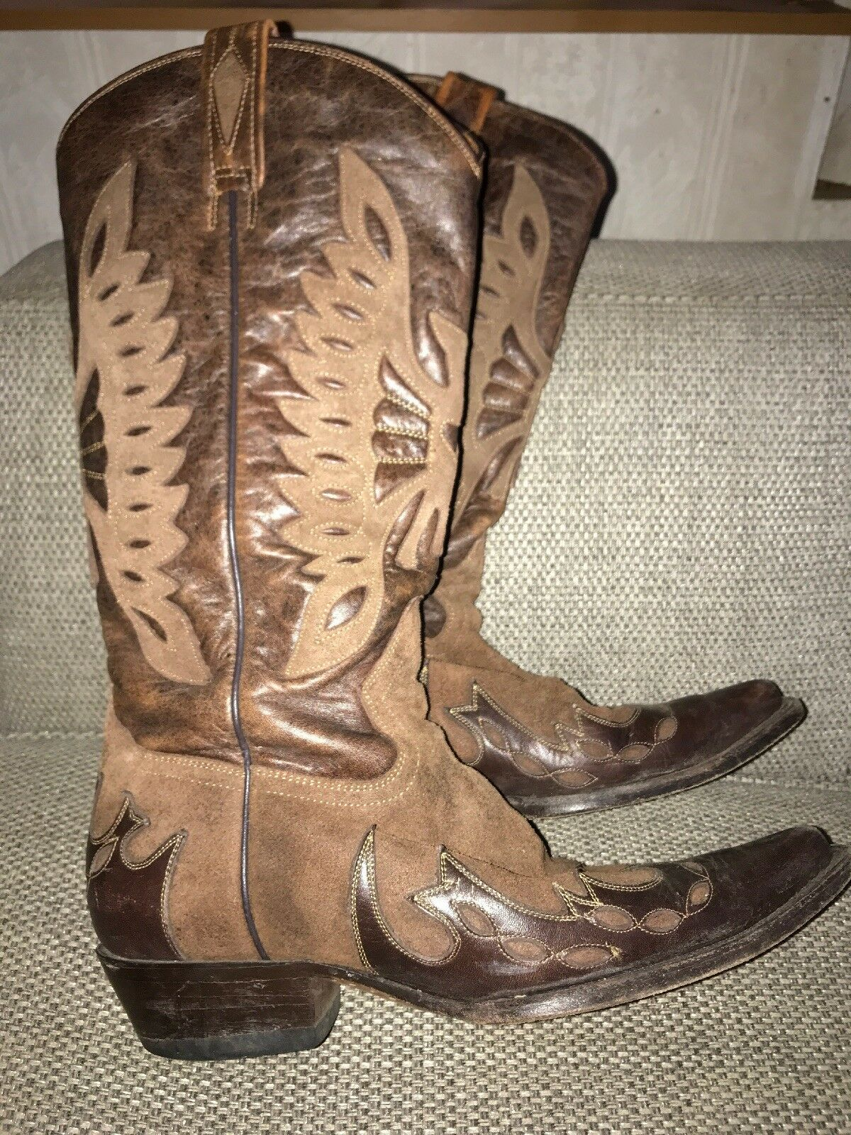 Buffalo Brown 2 Tone Leather Western country Cowboy Boots Boots Boots UK 7 EU40 VGC 0a49e0