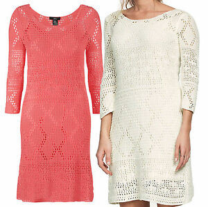 Details about Ladies UK PLUS Size 18 30 Ivory or Coral Crochet Lined Dress