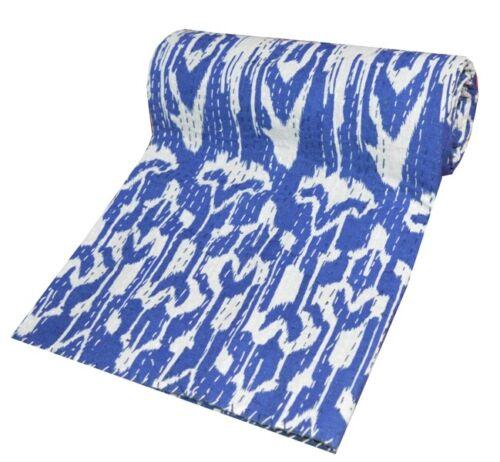 Handblock Ikat Print Kantha Quilt Twin Throw Wholesale Indian Bedding Bedspread