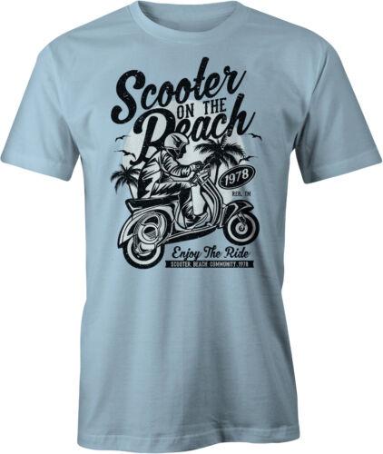 Scooter on the Beach Retro T Shirt Vintage Vespa Mod.