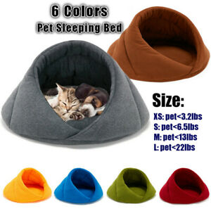 Soft-Warm-Fleece-Puppy-Pet-Cat-Dog-Nest-Kennel-Cave-Bed-House-Sleeping-Bag-Mat