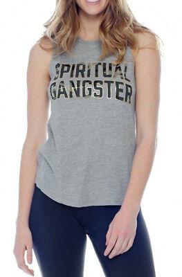 Spiritual Gangster Men/'s Varsity sleeveless t shirt ivory white