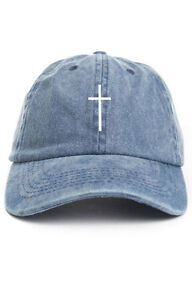 Image is loading Cross-Custom-Unstructured-Denim-Dad-Hat-Cap-Christian- da18b3c6079b