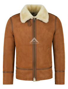 Details about Men's B3 Shearling Jacket Sheepskin Leather Bomber WhiskyBeige Fur Pilot HARBIN