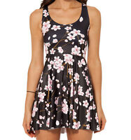 Black Cherry Blossom short skater dress sizes 8-14 UK japan kawaii, floral
