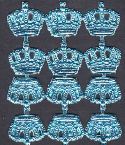 CROWN SMALL BLUE QUEEN KING ATCS ALTER ART DRESDEN COLLAGE GERMAN EMBELLISH ART