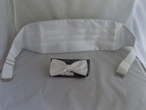 Shiny IVORY Polyester Cummerbund and Bow Tie Set/>P/&P 2UK/>1st Class-in 60 Colours