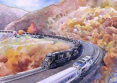 Tehachapi Loop California Matted Railroad Art Prints