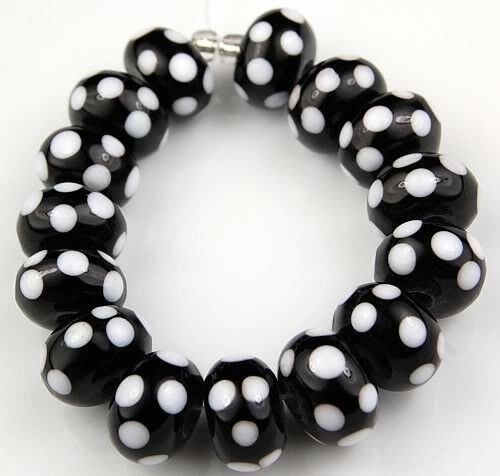 Lampwork Handmade Glass Beads Black White Dot Rondelle Jewelry Craft Spacer