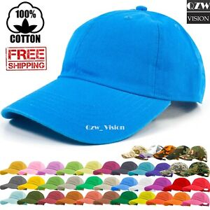 Polo-Style-Adjustable-Plain-Solid-Washed-Cotton-Hats-Baseball-Ball-Dad-Cap-Mens