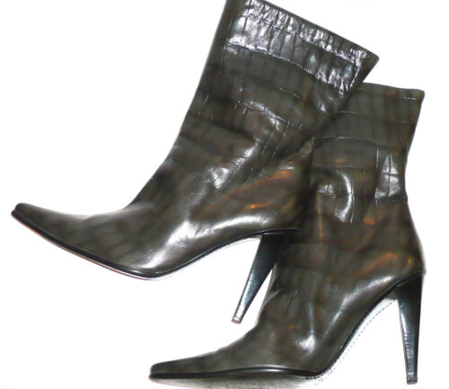 Escada 41 Luxus Echtleder Gr Stiefeletten In Italy Grau Made PAzwHP