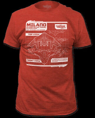 Beautiful Guardians Of The Galaxy Star-lord's Ship Milano Diagram Red T-shirt New Unworn Aliens, Avp