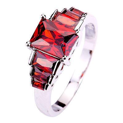 Emerald Cut Bridal Garnet Gemstones Silver Ring Size 6 7 8 9 10 Free Shipping