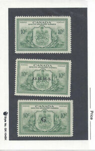 CANADA: 1946 Special Delivery Stamp E11, and Official Special Del Stamps E01-02