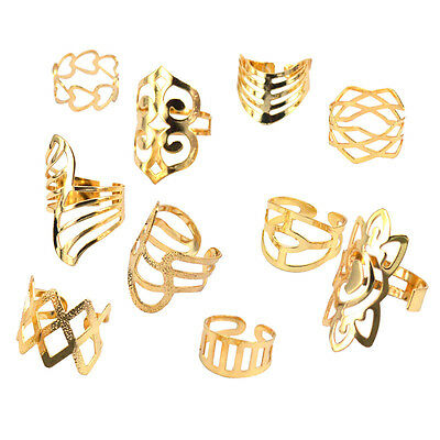 Adjustable Hollow Ring Punk Simple Style Rings Gold Color Jewelry J