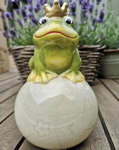 Froschkoenig-Maerchen-Figur-Keramik-Frosch-Spardose-Moneybox-Krone-Royal-Kugel