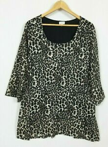 Avenue Women's 26-28 (3x) Animal 3/4 Sleeve Semi Sheer Stretchy Knit Tunic Top
