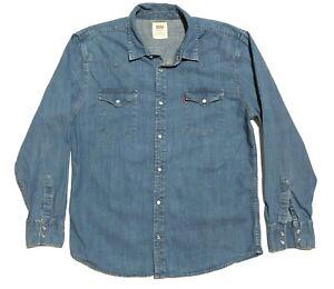 Levis-Mens-XL-Long-Sleeve-Pearl-Snap-Denim-Western-Rockabilly-Shirt-Blue-EUC
