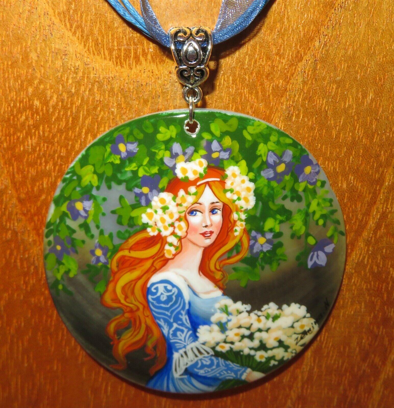 Pendant Elisabeth Sonrel Girl in bluee Hand Made Shell Art Nouveau Illustration