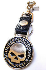 Harley Davidson Willie G Skull Biker black Leather Key Chain Holder