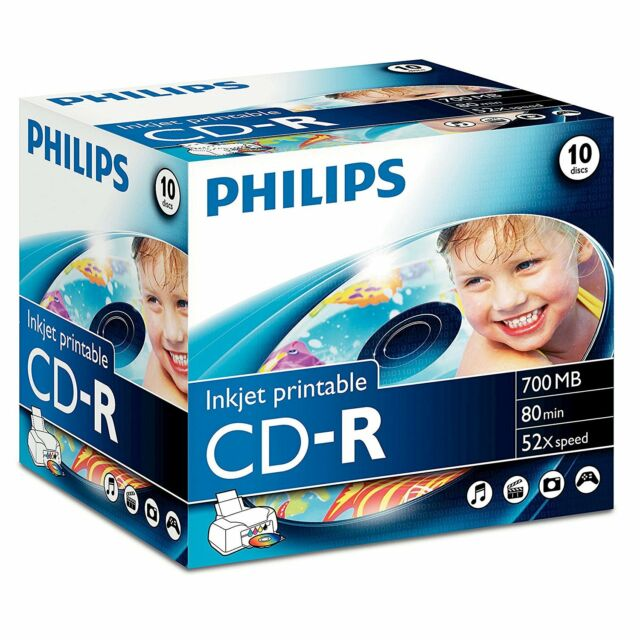 Philips CD-R Inkjet Printable Recordable CD 52x 700MB 80Min - 10 Pack Jewel Case