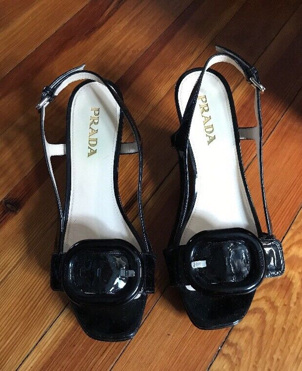 Prada Size 35.5 Black Patent Leather Slingback Buckle Wedge